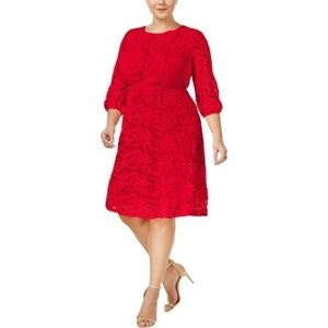 ING Women's Red Bell Sleeves Lace Cocktail Dress